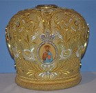 Gold Mitre with handpainted Icons