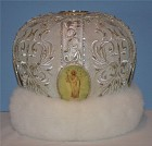 White Mitre with mink trim and hand painted icons on Mother of Pearl (see details in following photos)